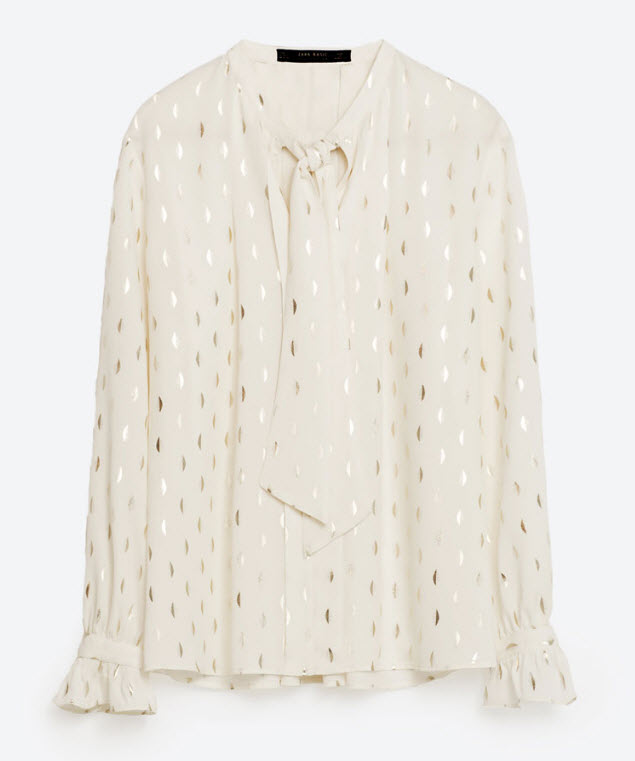 ZARA PRINTED BLOUSE WITH BOW DETAILS 39.90 USD