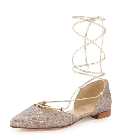 Neiman Marcus Stuart Weitzman Gilligan Lace-Up d'Orsay Flat, Platinum $398.00