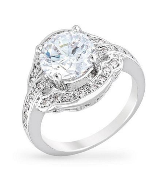 BAUBLEBOX Lynn 4ct CZ White Gold Rhodium Vintage-Inspired Ring $ 20.00 Compare at: $ 95.00
