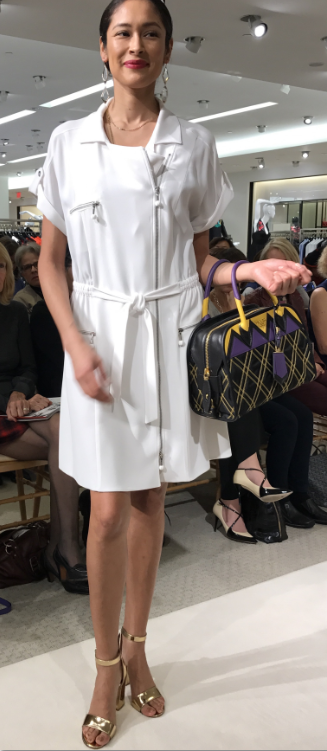 White Jumper with Gold Sandals and Prada Bag