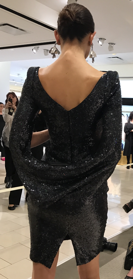 Konica Sequined Cape-Back Cocktail Dress