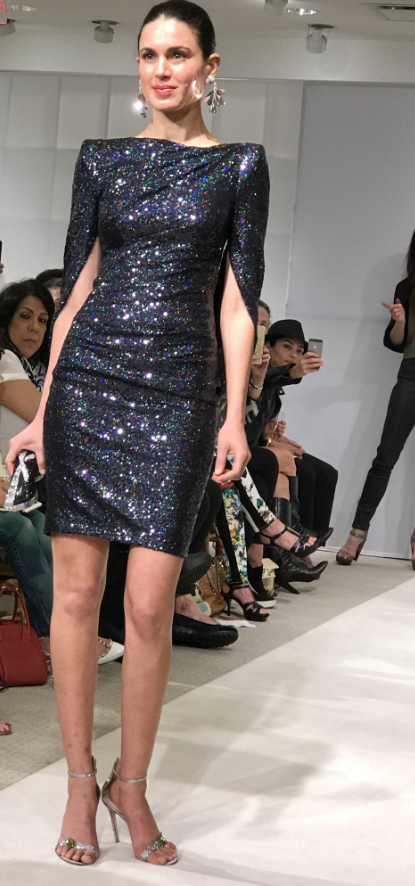 Konica Sequined Cape-Back Cocktail Dress, Navy