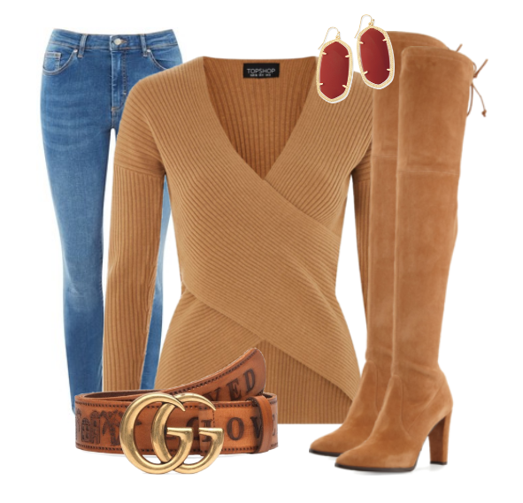 Cashmere Wrap Top with Over-The-Knee Boots