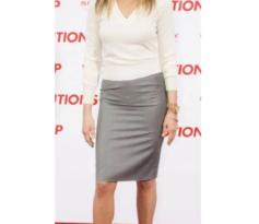 Jennifer Aniston Pencil Skirt and Cream Sweater